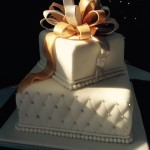 fondant quilted cake with sugar paste bow
