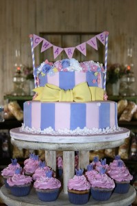 baby shower fondant cake and cupcakes