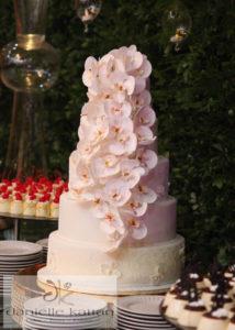 orchid fondant wedding cake